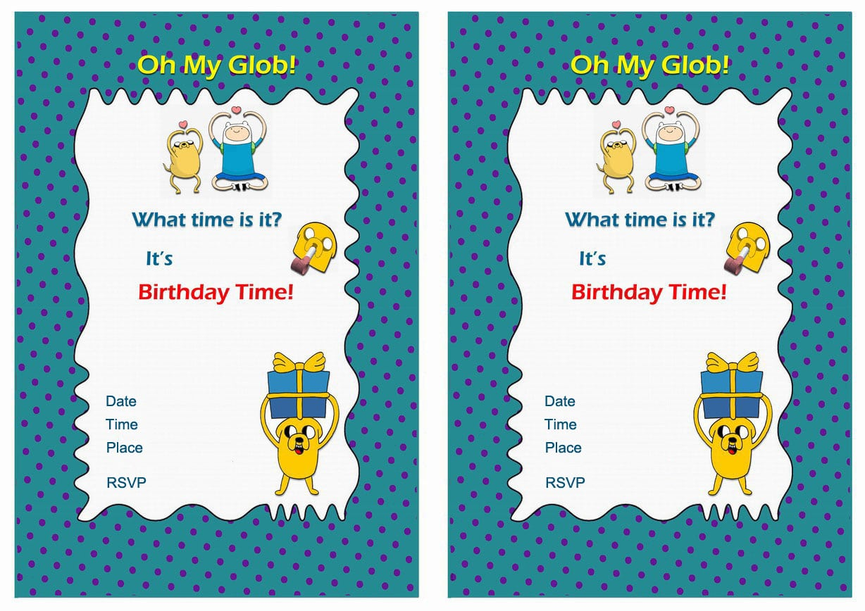 Adventure Time Free Printable Birthday Party Invitations