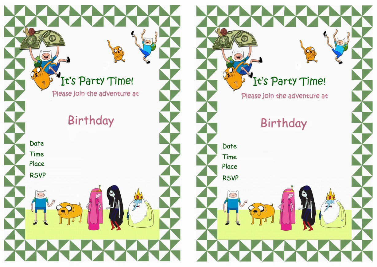 Adventure Time Party Invitations