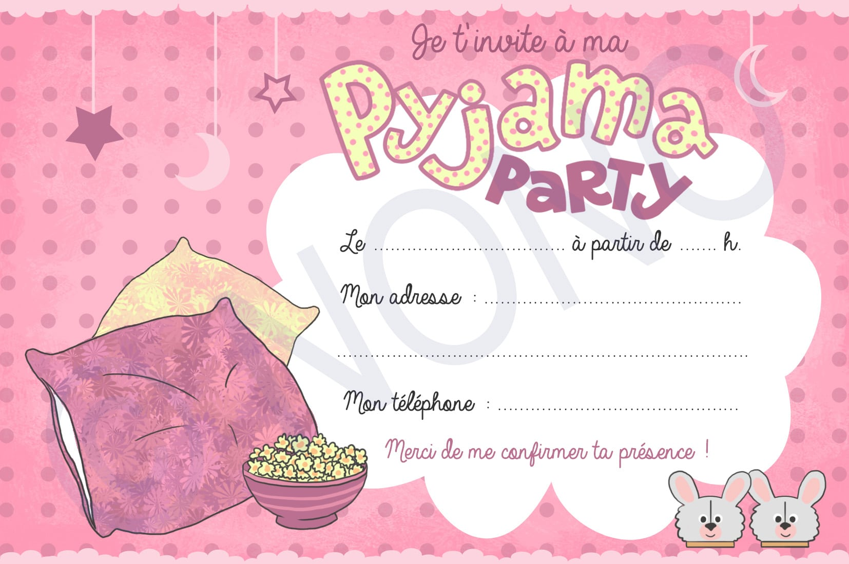 Pyjama Party Invitations