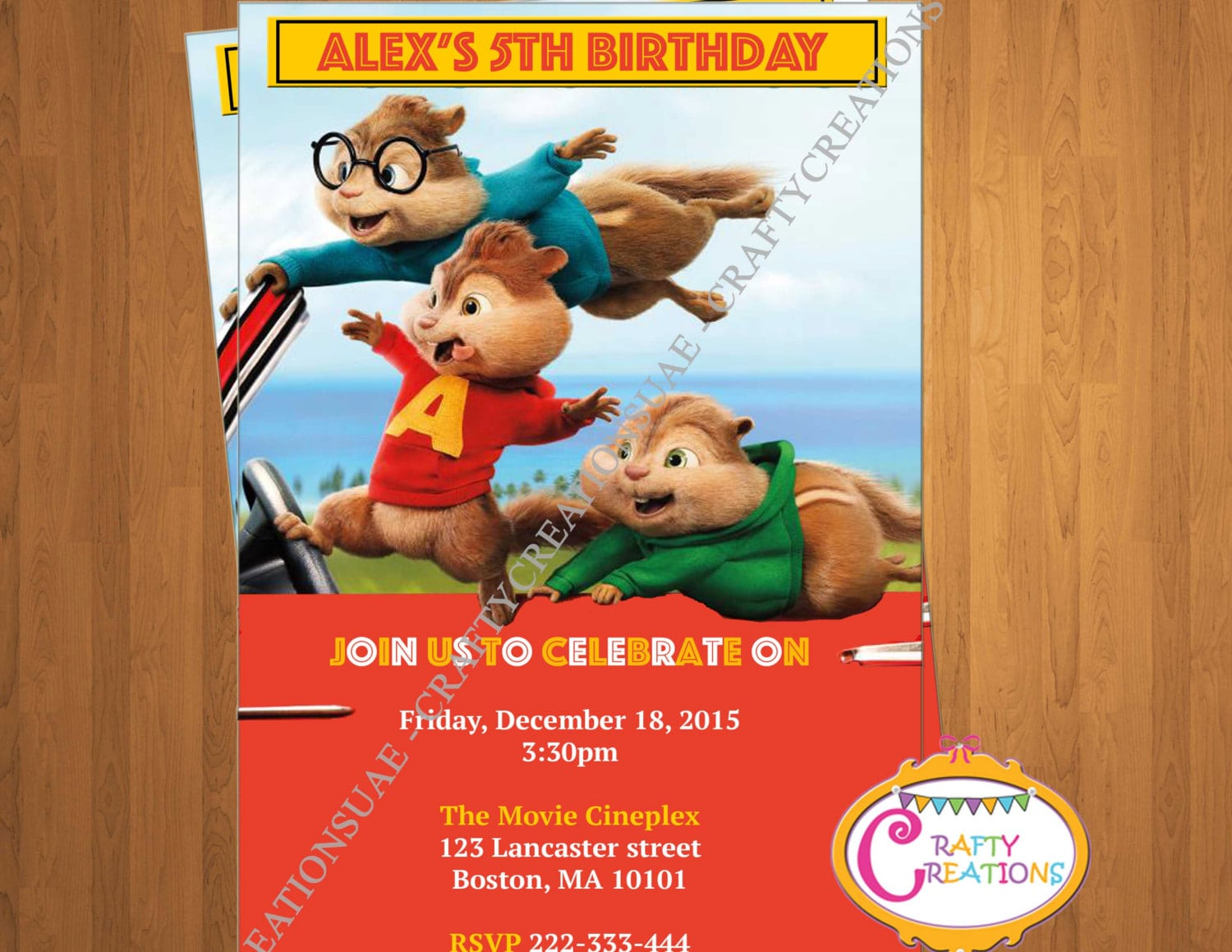 Alvin And The Chipmunks  The Road Chip Invitation