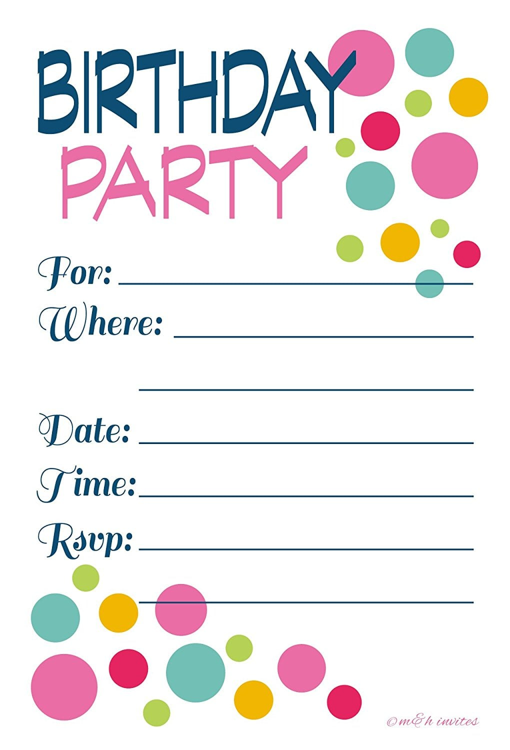 Amazon Com  Adult Or Teen Birthday Party Invitations Colorful Dots
