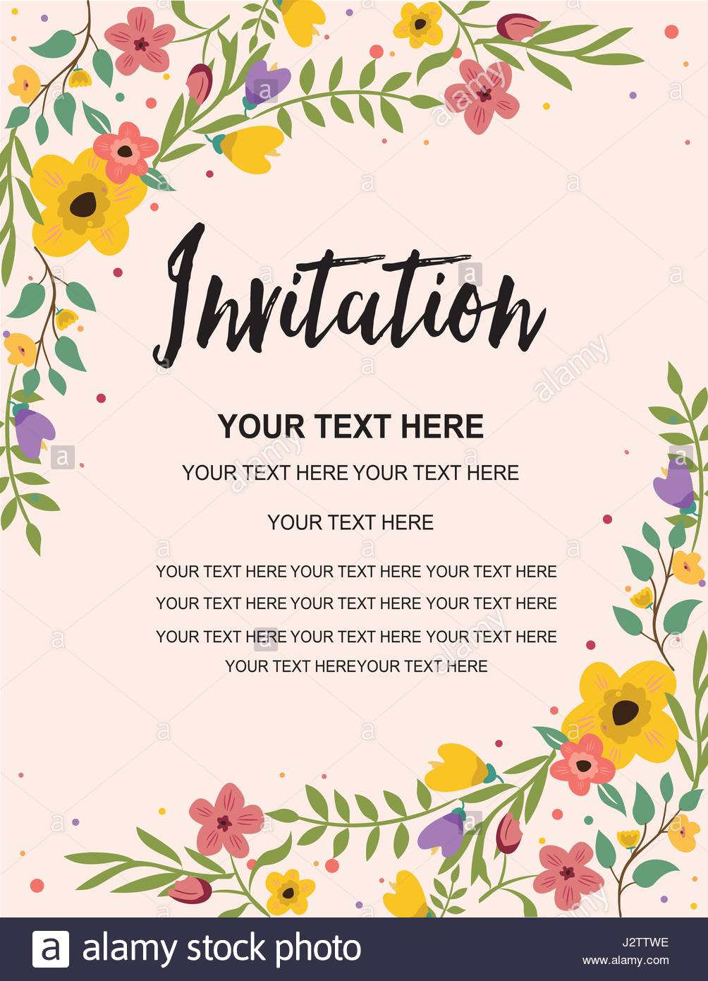 Anniversary Party Invitation Card Template  Colorful Floral Stock