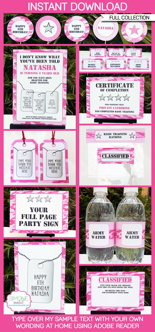 Army Party Printables, Invitations & Decorations – Pink Camo