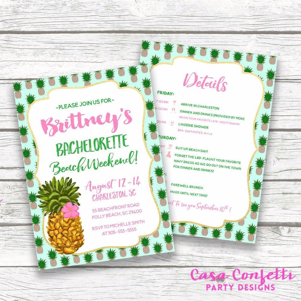 Bachelorette Itinerary, Pineapple Bachelorette Invitation, Beach