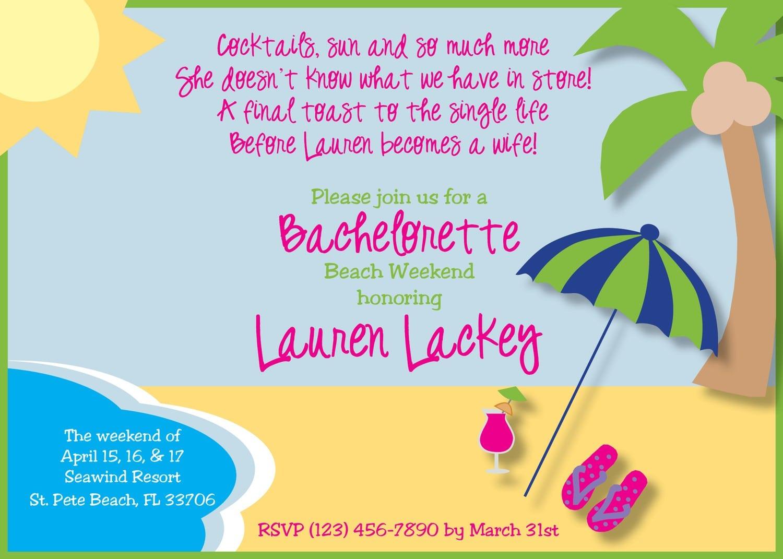 Bachelorette Party Invitation Wording Beach Images