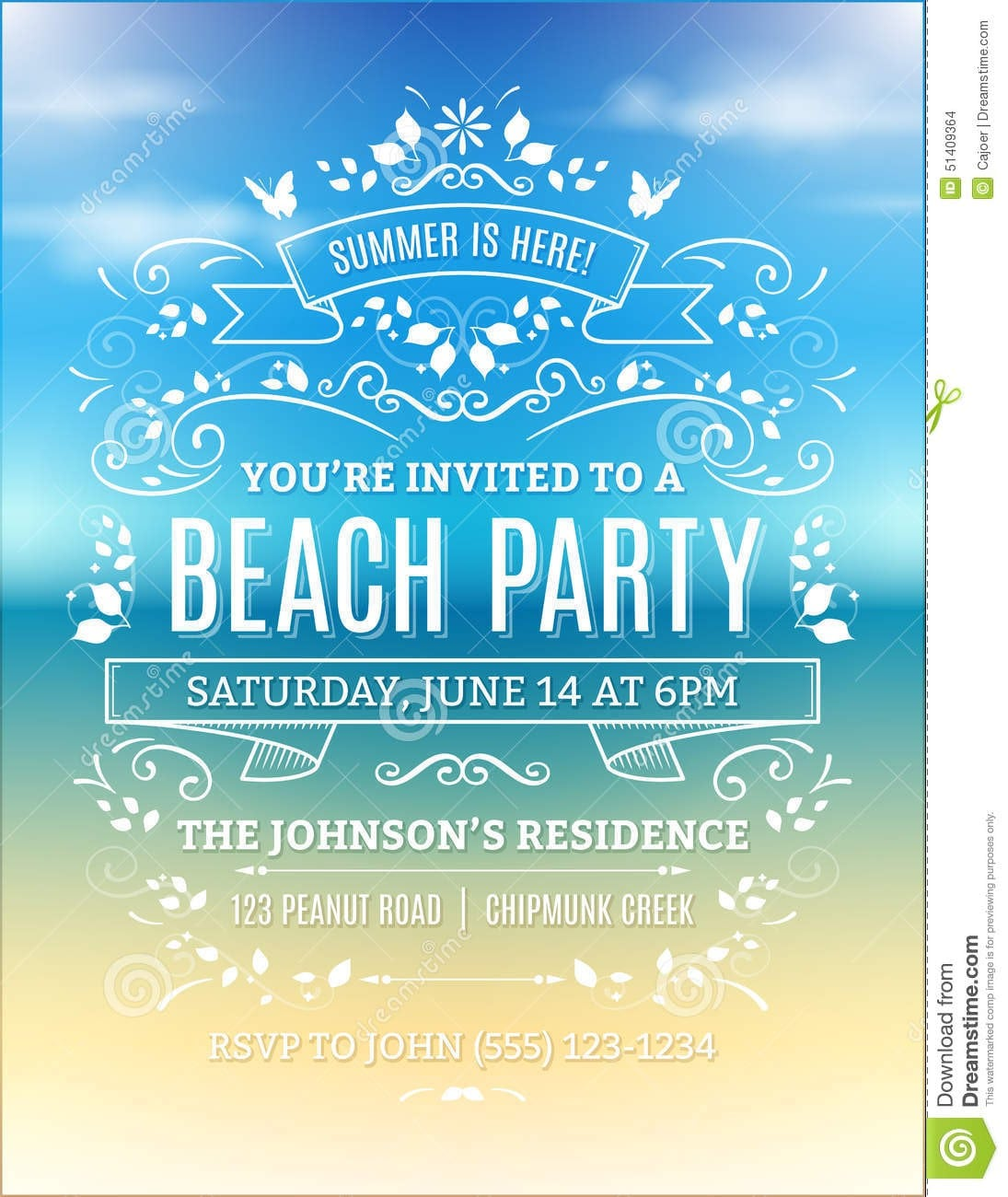Beach Party Invitations Free Printable