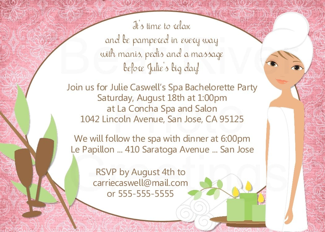 Bear River Photo Greetings  Spa Party Invitation