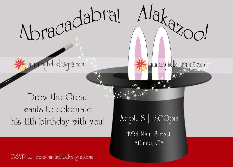 Birthday Invitations  Magic With Hat & Bunny  $15 00, Via Etsy
