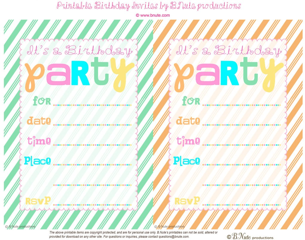 Birthday Party Invitations Free Printables