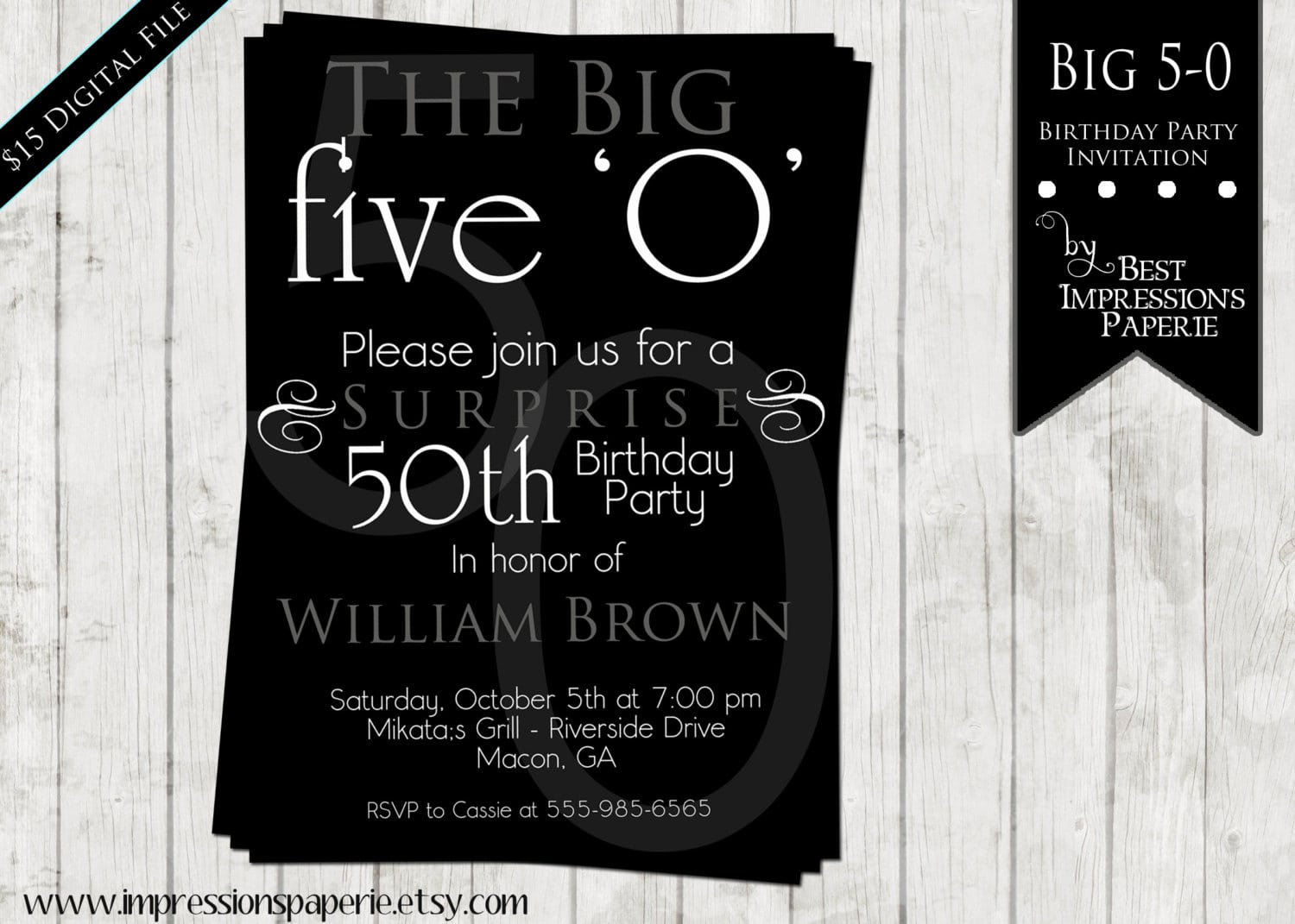 Black And White Theme Party Invitations