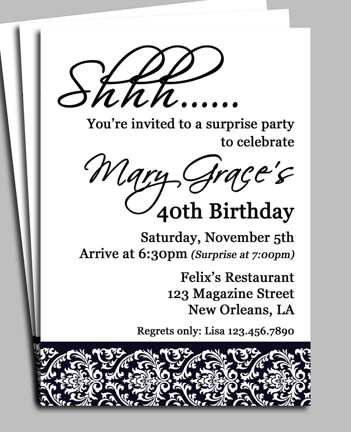 Black Damask Surprise Party Invitation Printable By Thatpartychick