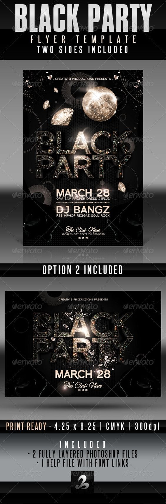 Black Party Invitations