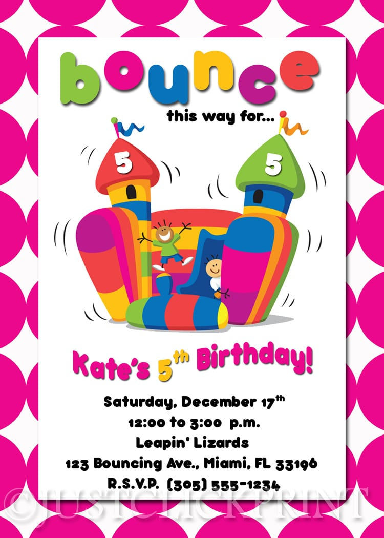 Bounce House Birthday Invitation Printable · Just Click Print