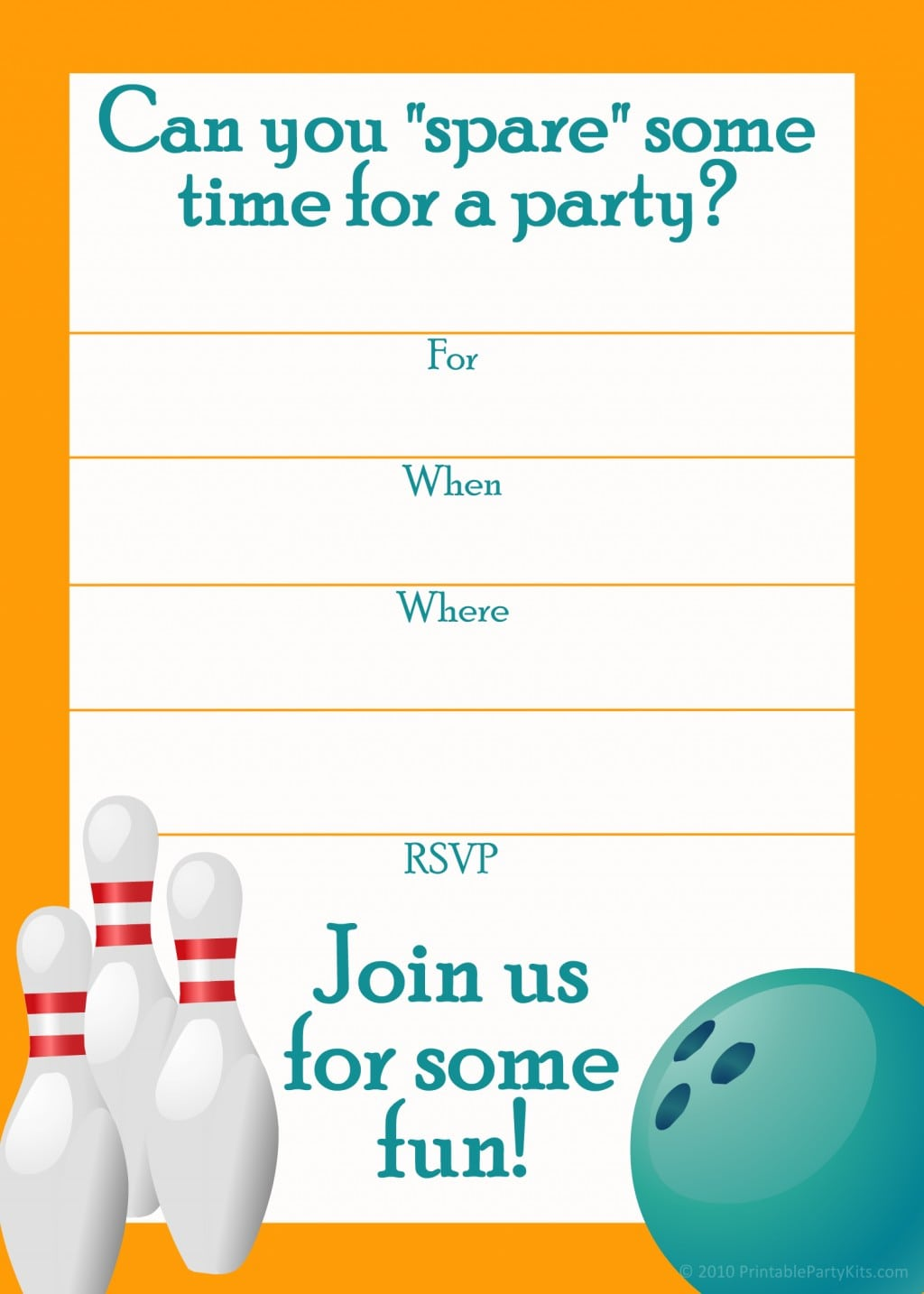 Bowling Party Invites Template