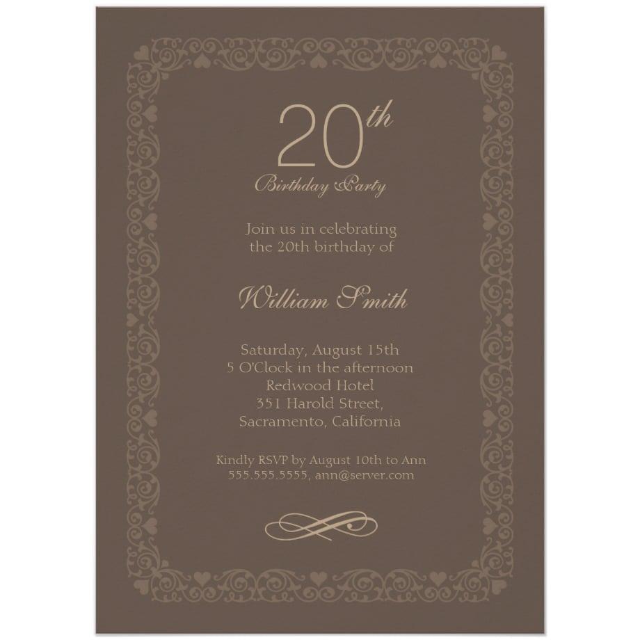 Brown Classic 20th Birthday Invite