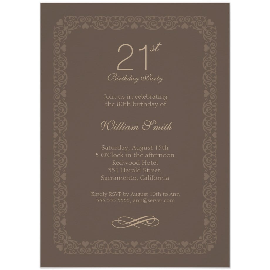 Brown Classic 21st Birthday Invite