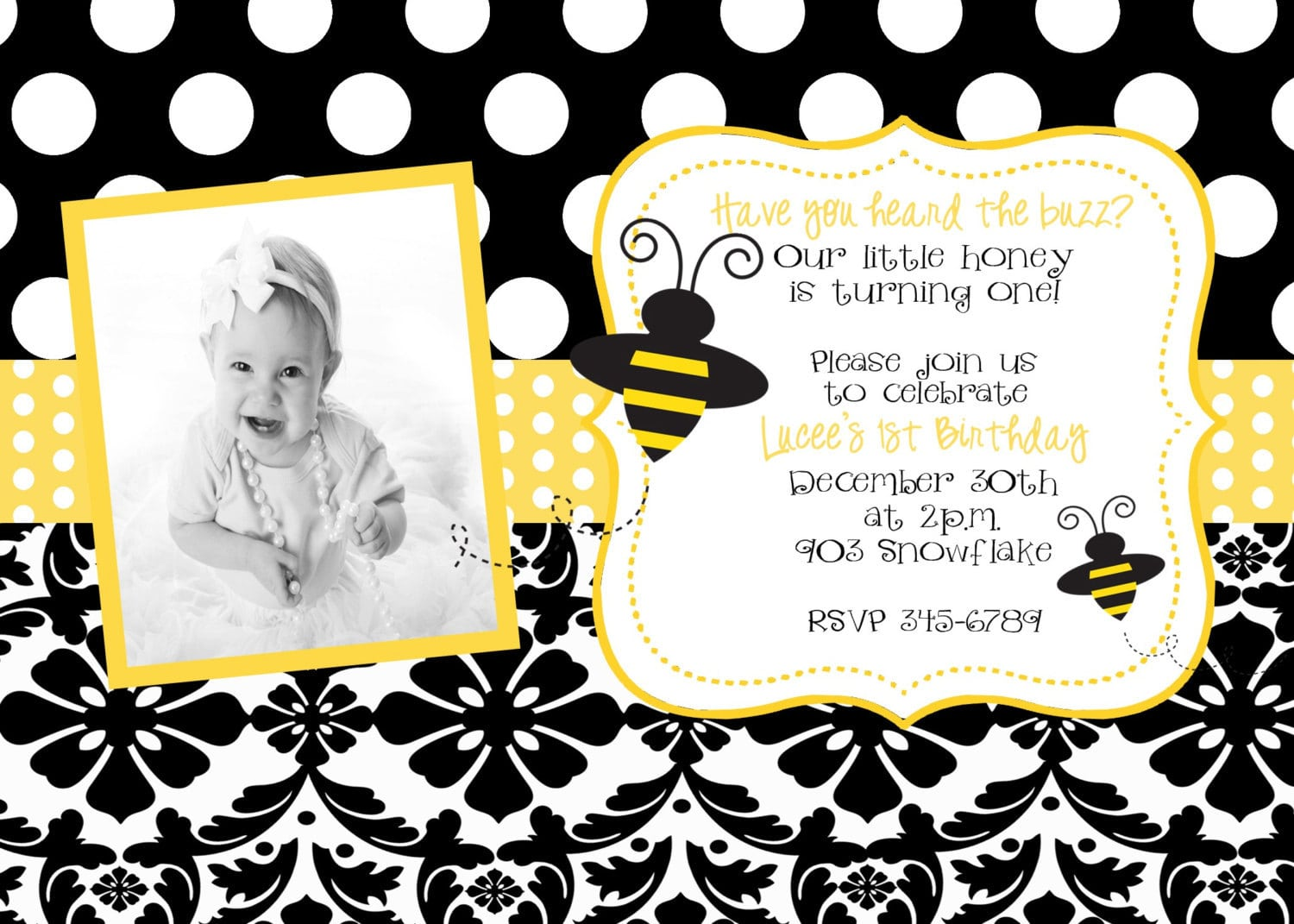Bumble Bee 1st Birthday Invitations