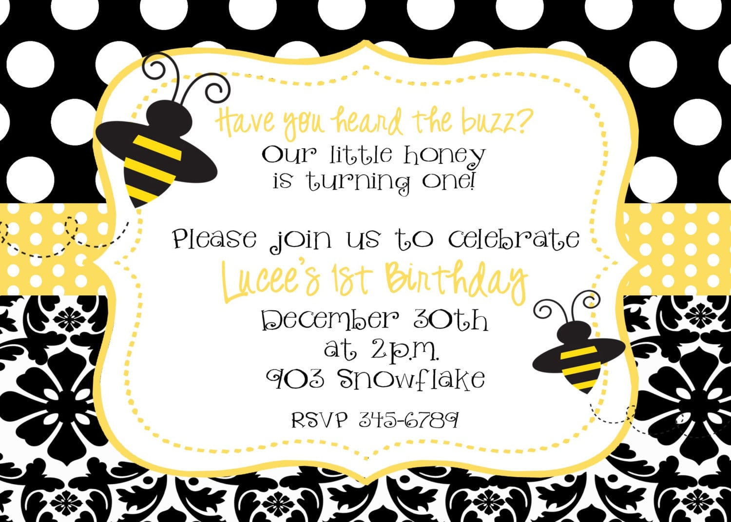 Bumble Bee Birthday Party Or Baby Shower Invitation Digital Or