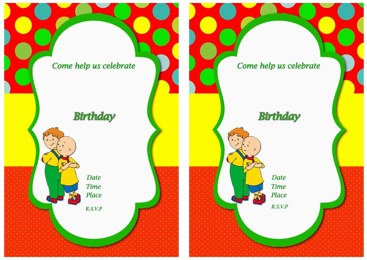Caillou Free Printable Birthday Party Invitations