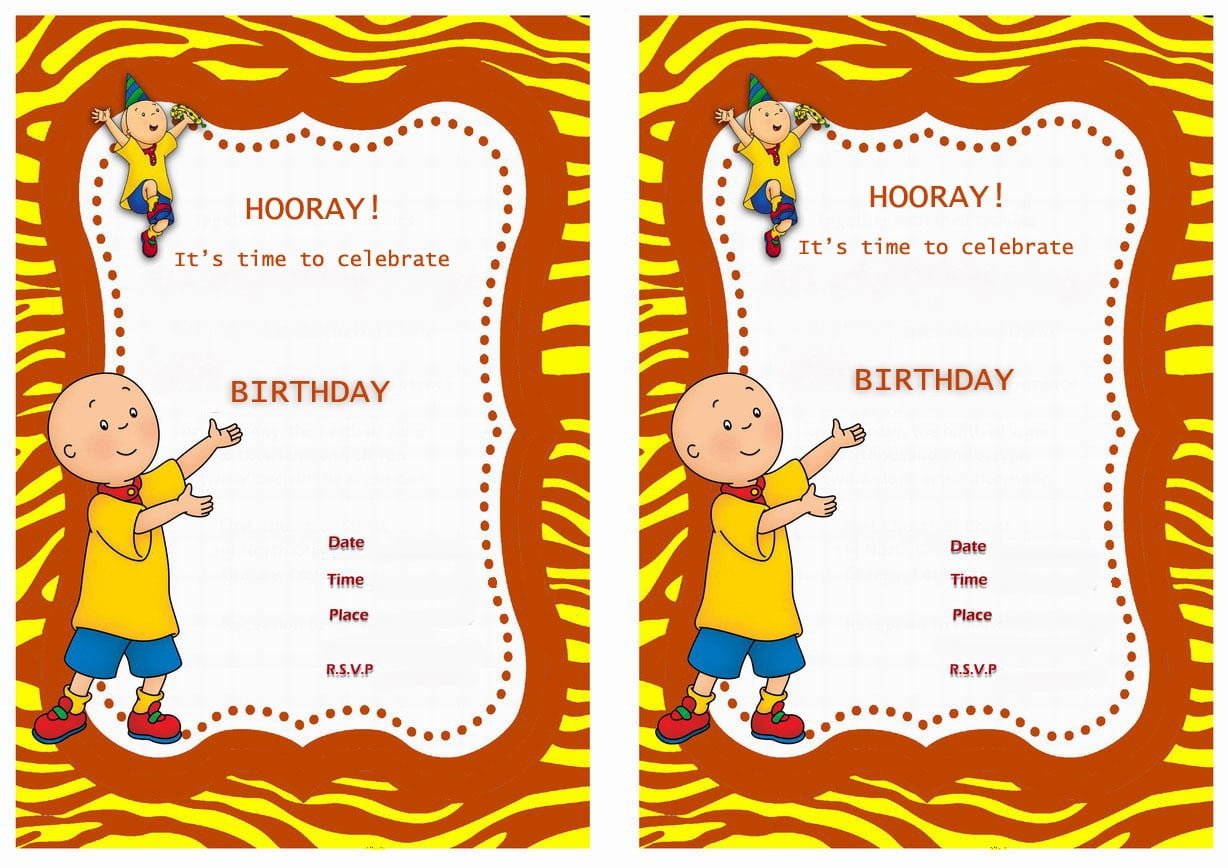 Caillou Party Invitations