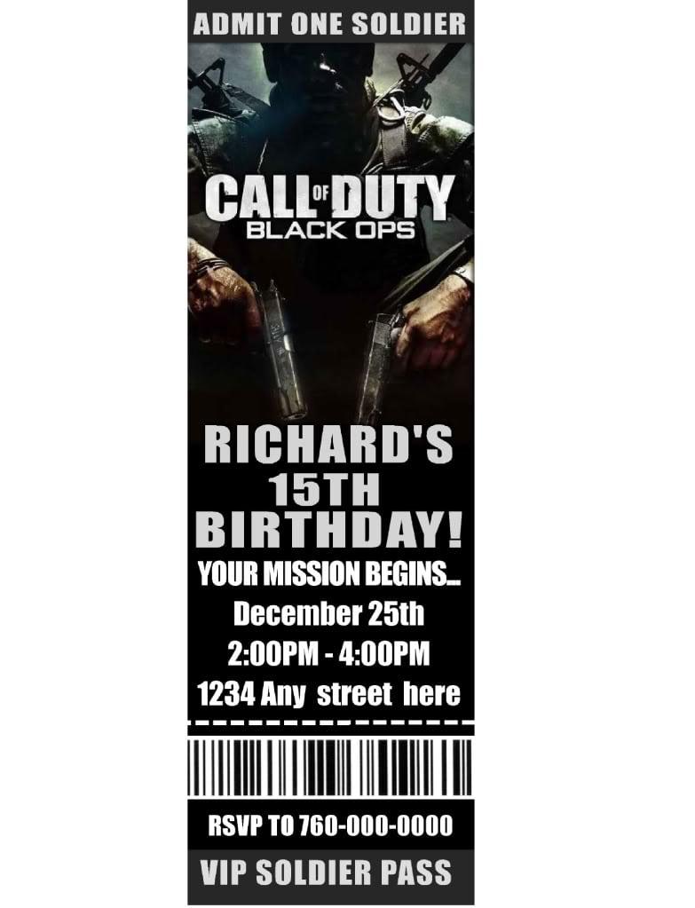 Call Of Duty Birthday Party Invitations