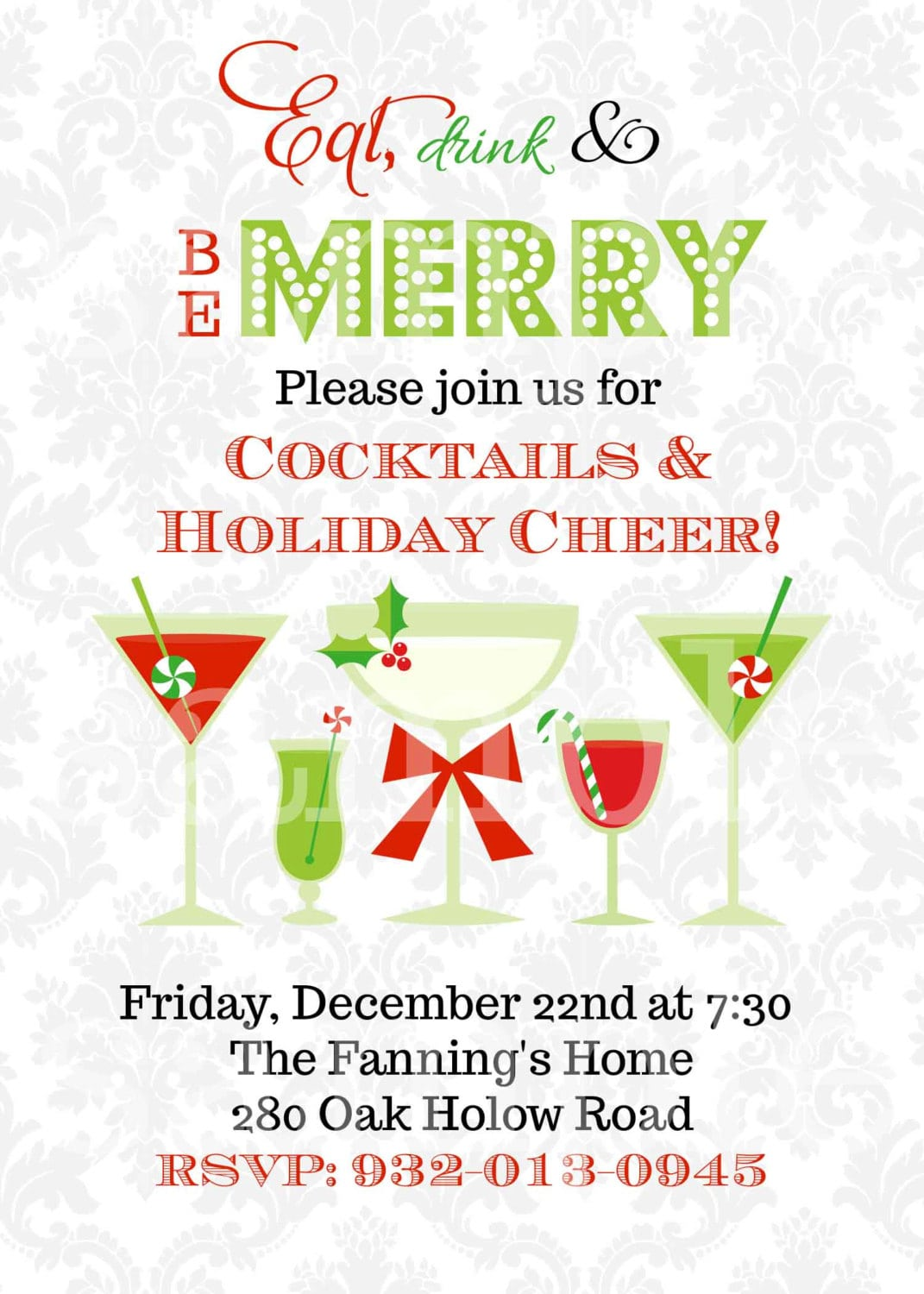 Christmas Cocktails Invitation You Print Holiday Party