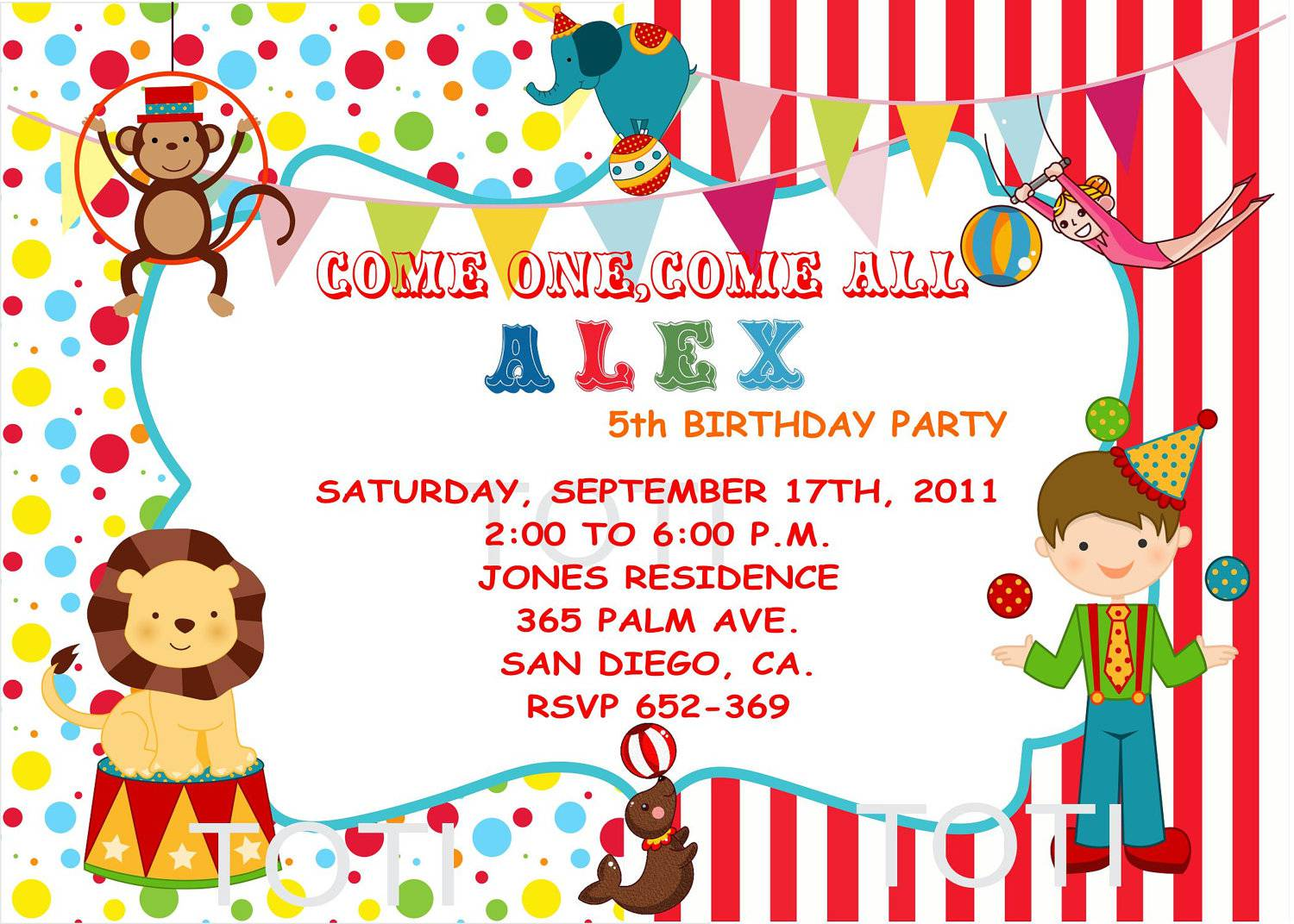 Circus Party Invitations Circus Party Invitations In Support Of