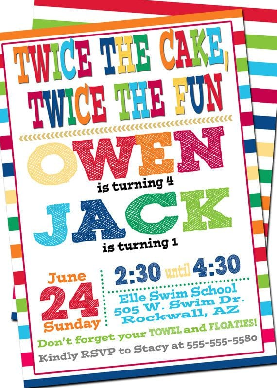 Colors   Double Digit Birthday Party Invitations With Joint