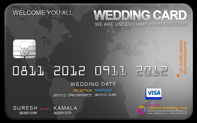 Cool Designing Credit Card Invitation Black Color Template Wording