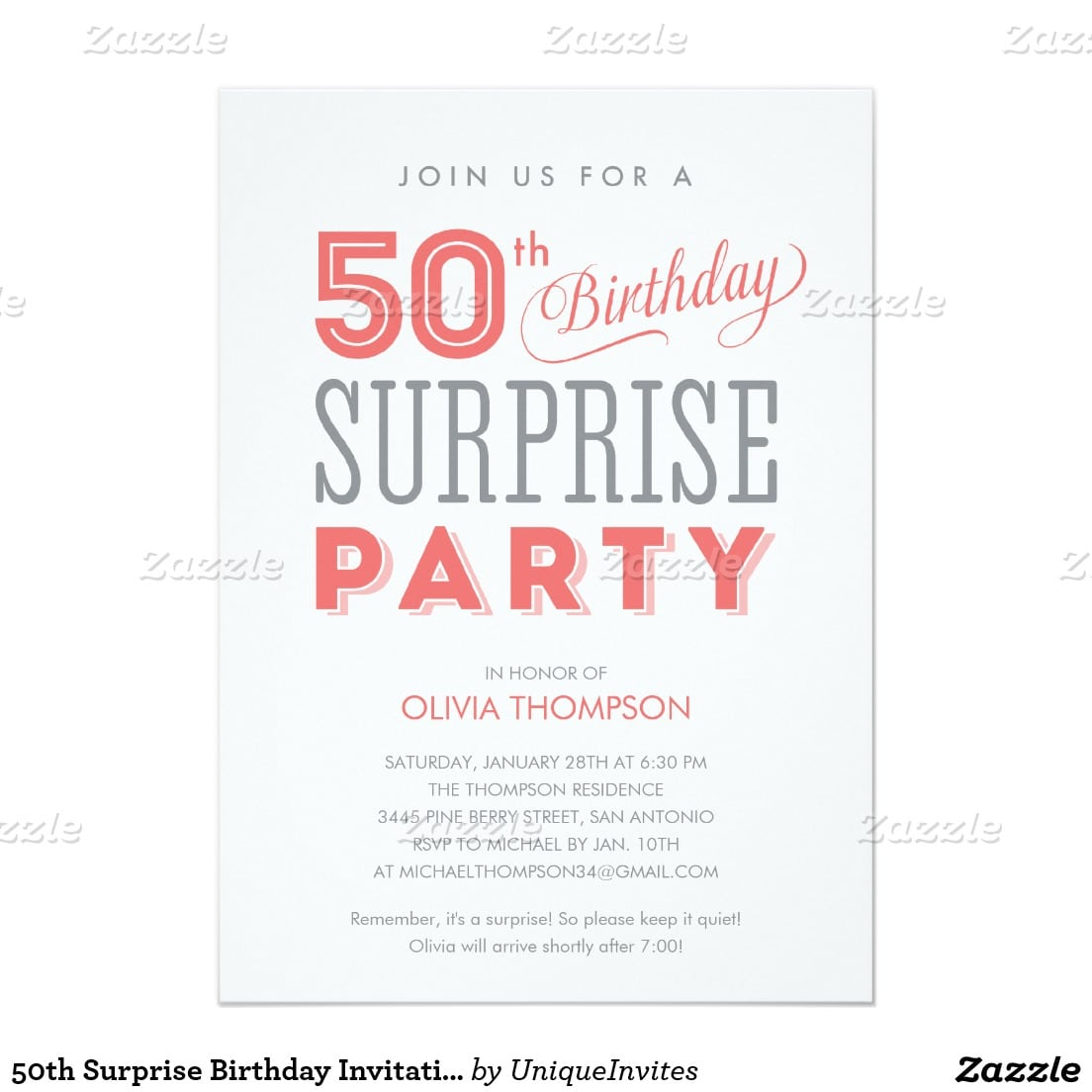Cool Free Template Surprise 50th Birthday Party Invitation Wording