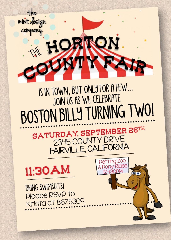 County Fair Petting Zoo Birthday Party Invitation Digital Design