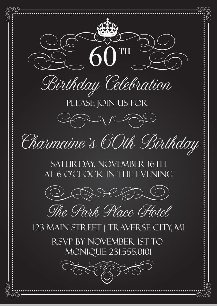 Crown Vintage Birthday Invitations