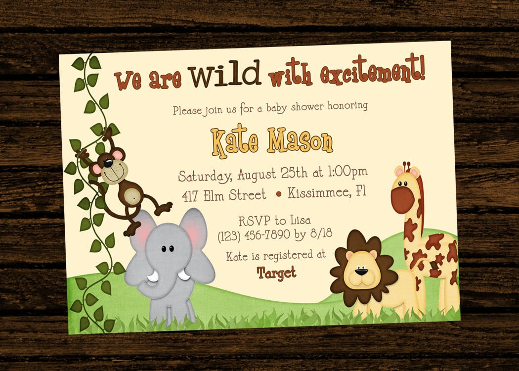 Custom Baby Shower Jungle Themed Birthday Party Invitations