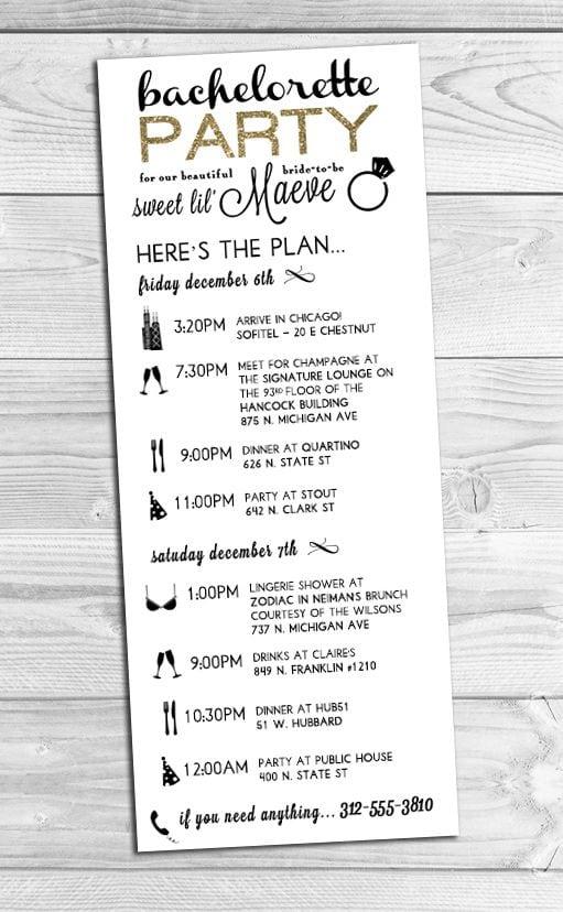 Custom Bachelorette Party Invitations