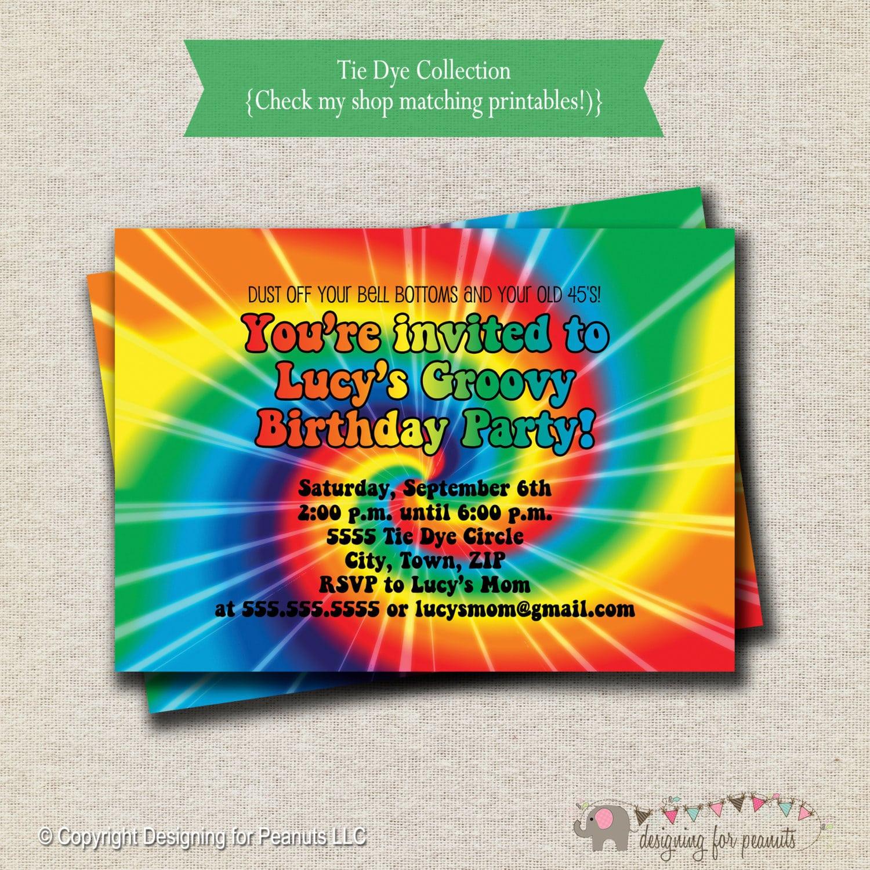 Cute Tie Dye Party Invitations Gallery