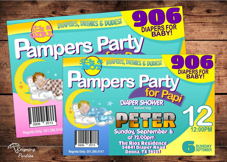 Diaper Shower For Dad Invitation Babies & Beer Invitation