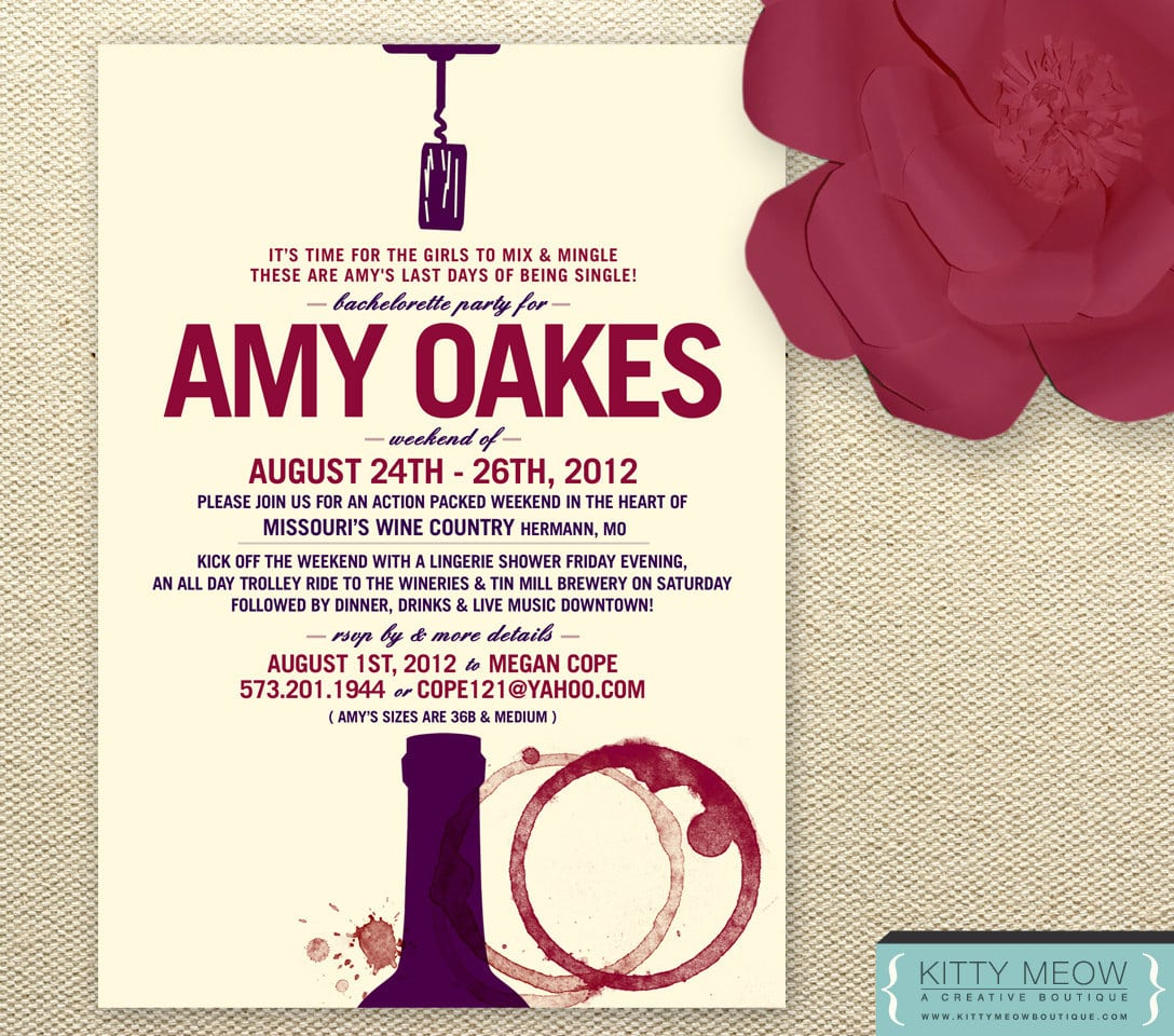 Diy Wine Stain Theme Bachelorette Party Invites