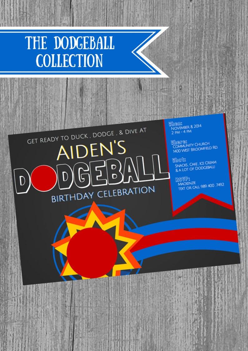 Dodgeball Birthday Party Invitations  Dodgeball Theme Boy