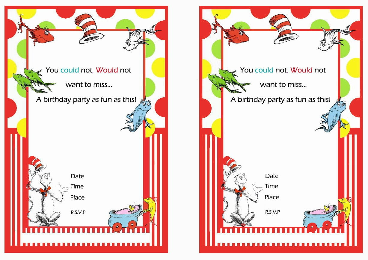 Dr  Seuss Free Printable Birthday Party Invitations