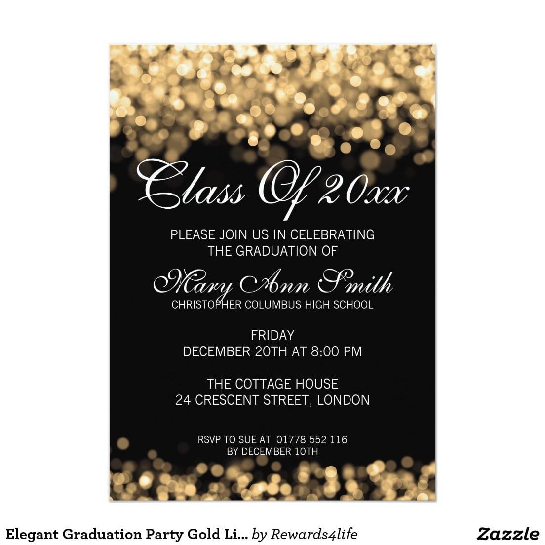 Elegant Graduation Party Gold Lights Cardelegant Gold