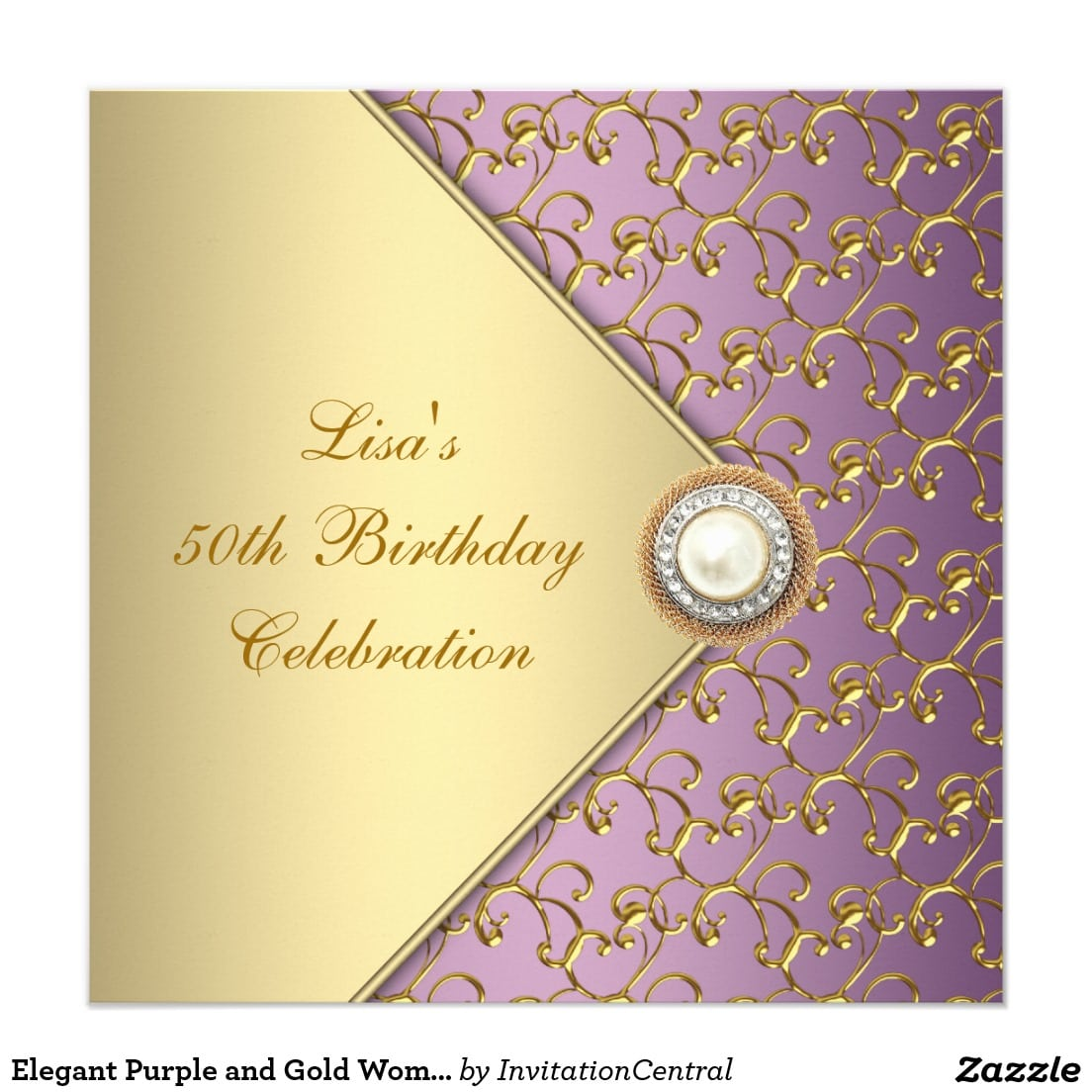 Elegant Purple And Gold Womans 50th Birthday Party Invitation