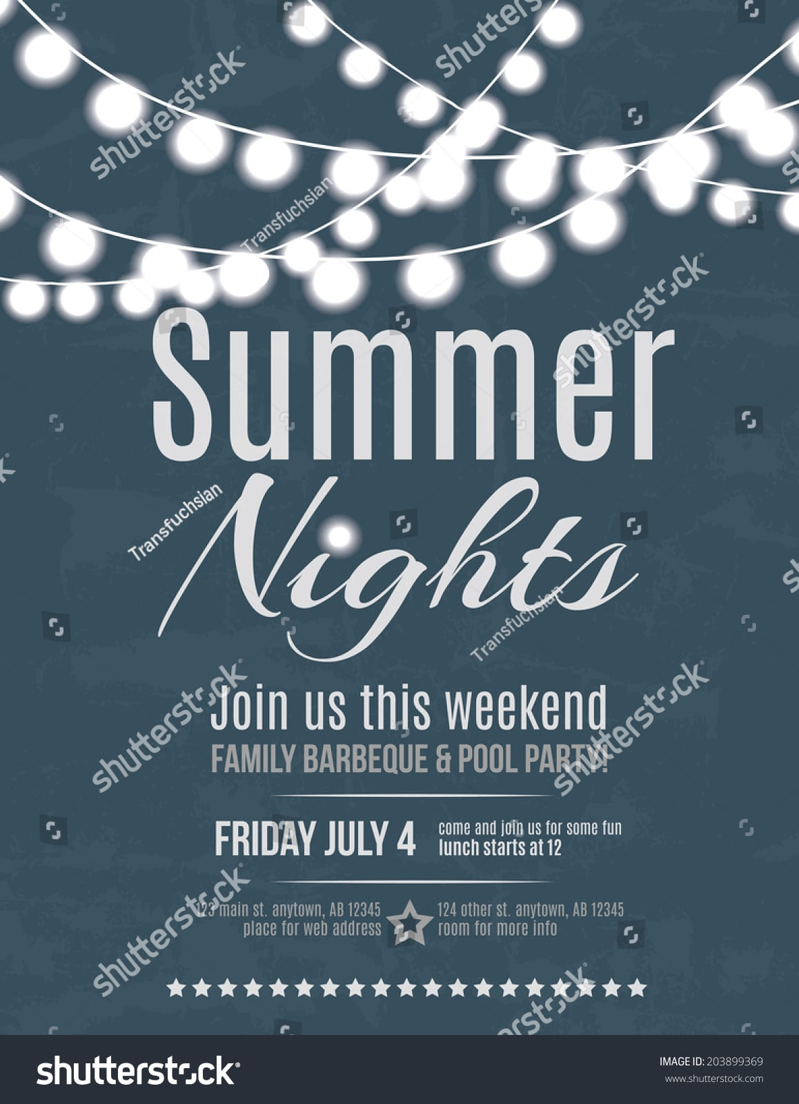 Elegant Summer Night Party Invitation Flyer Stock Vector 203899369