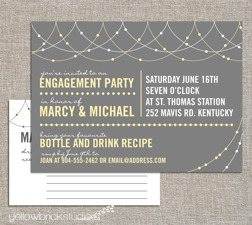 Engagement Stock The Bar Party Invitation And Drink Recipe Card