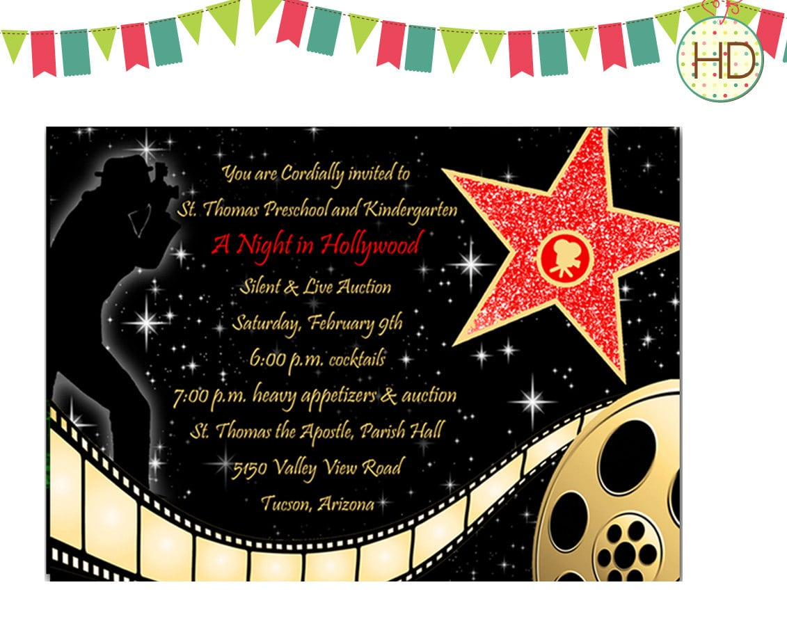 Extraordinary Free Printable Hollywood Invitations Follows Modest