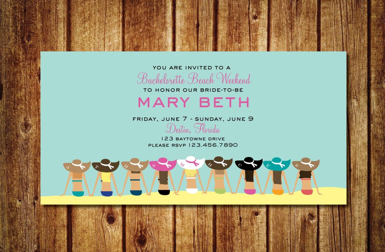 Floppy Hat Beach Bachelorette Weekend Invitation Printable