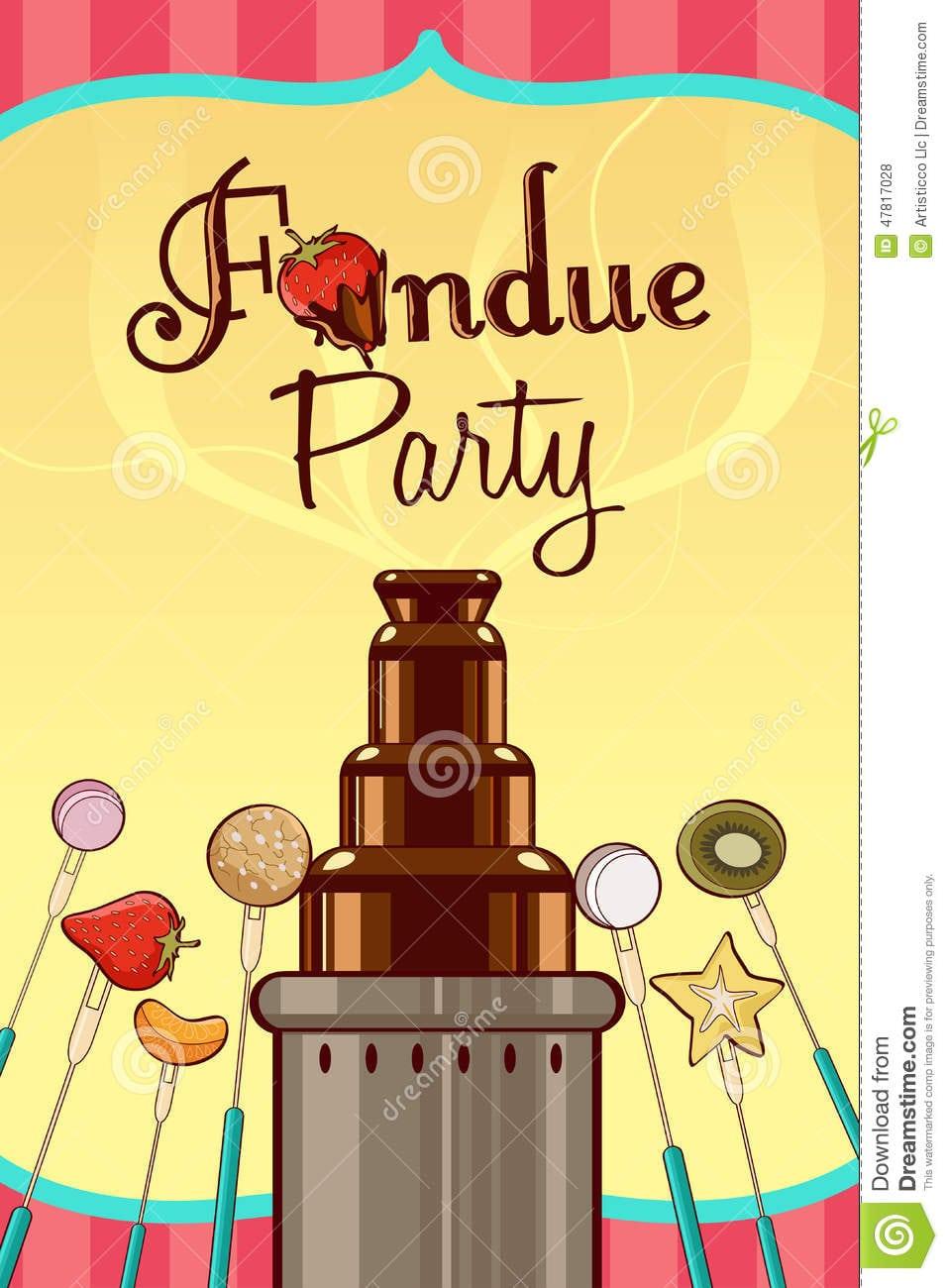 Fondue Party Invitation Stock Vector  Illustration Of Copyspace