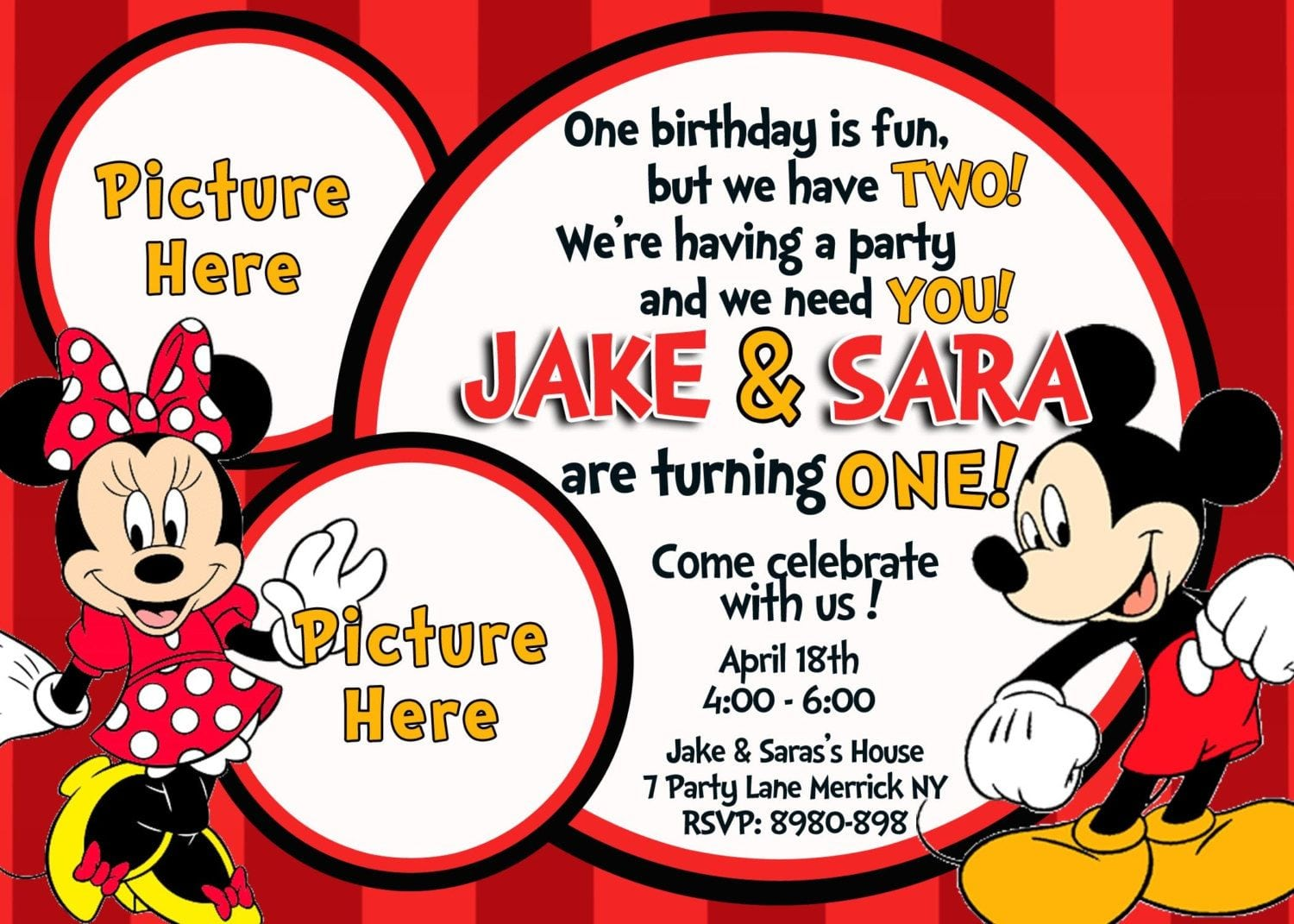 Free Mickey And Minnie Mouse Birthday Invitations