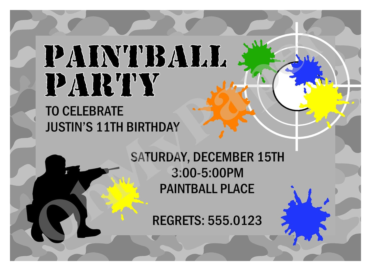 Free Paintball Party Invitation Template