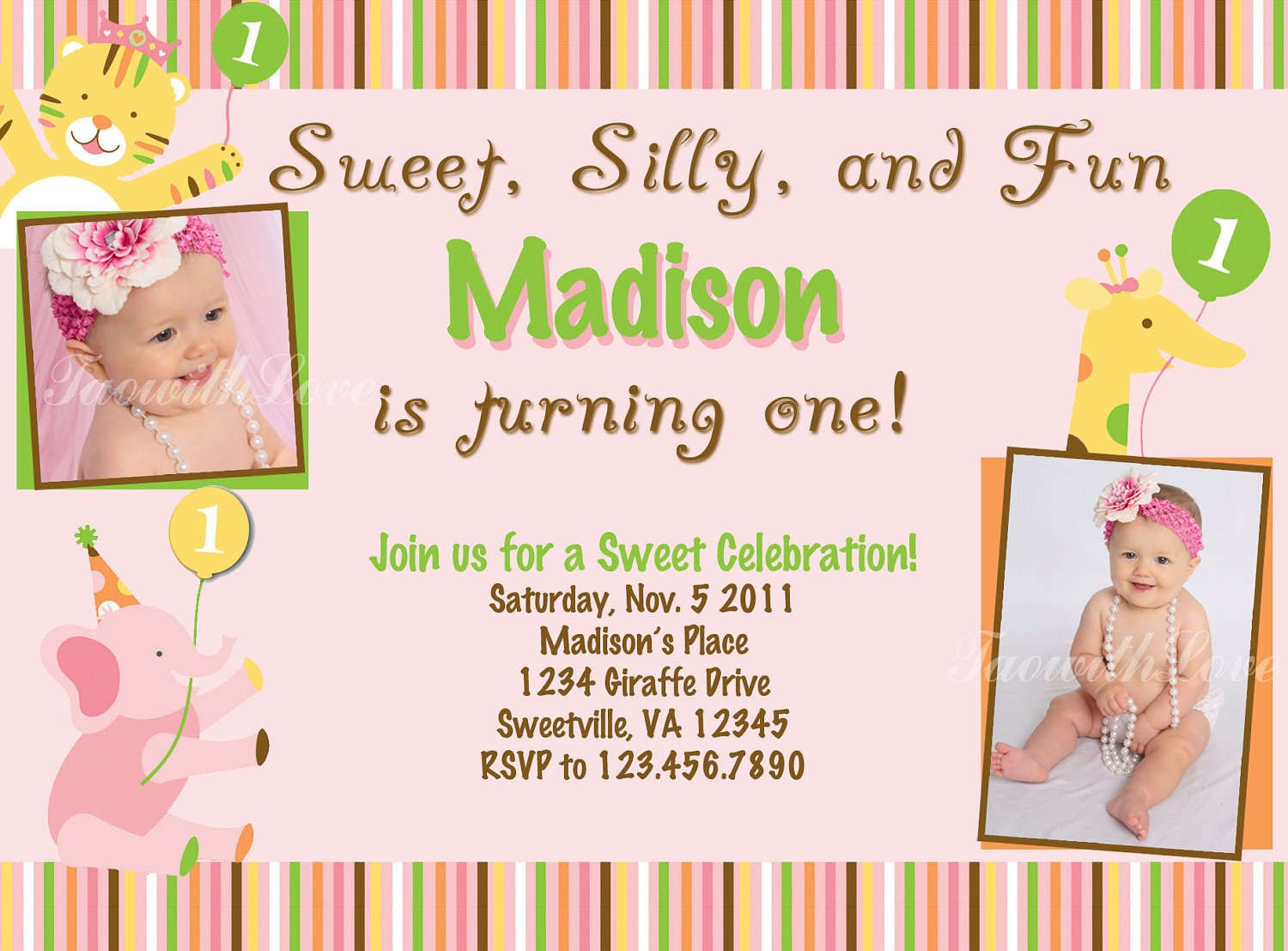 Free Printable 1st Birthday Party Invitations