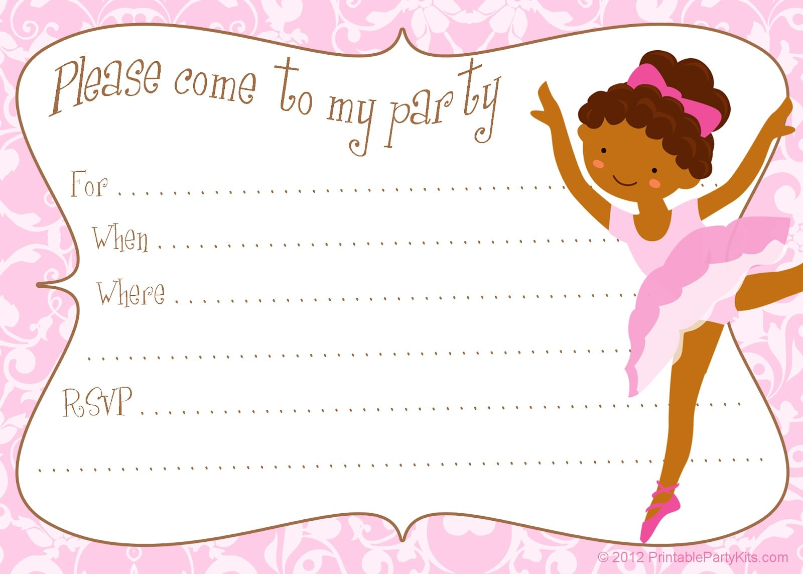 Free Printable Diy Ballerina Invitation Template
